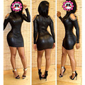 Casual Mujeres Atractivas de Calidad Superior de LA PU de Cuero Vestidos de Mini Partido de Manga Larga Vestido de Clubwear Negro Tamaño más Apretado Vestido