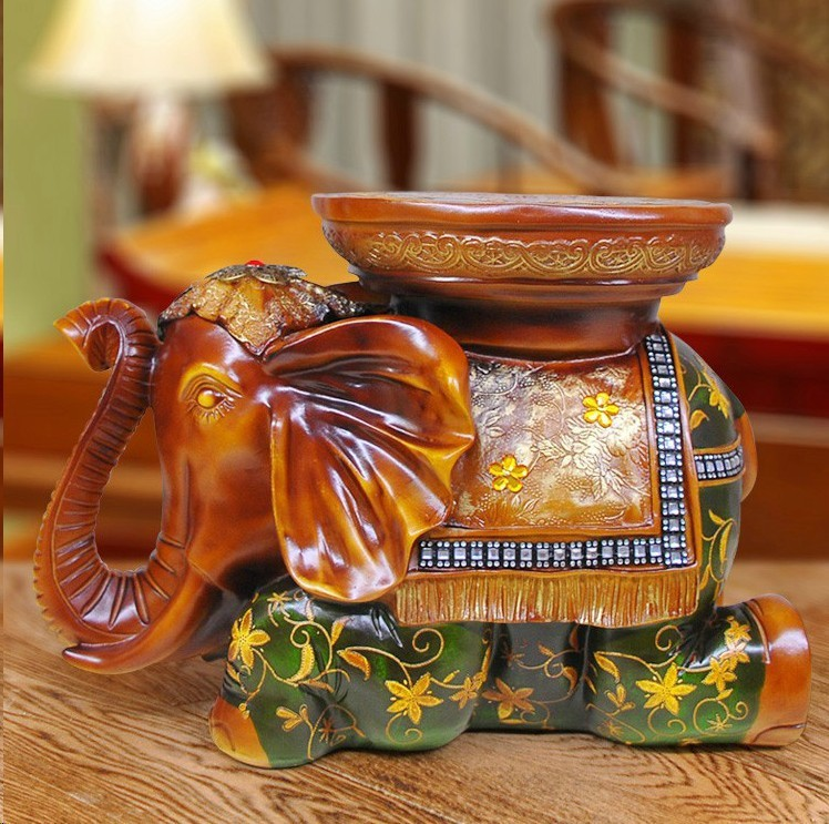 High-density green resin Lucky elephant ornaments stool European home decor furnishings resin ornaments dnc набор филлер для волос 3 15 мл и шелк для волос 4 10 мл