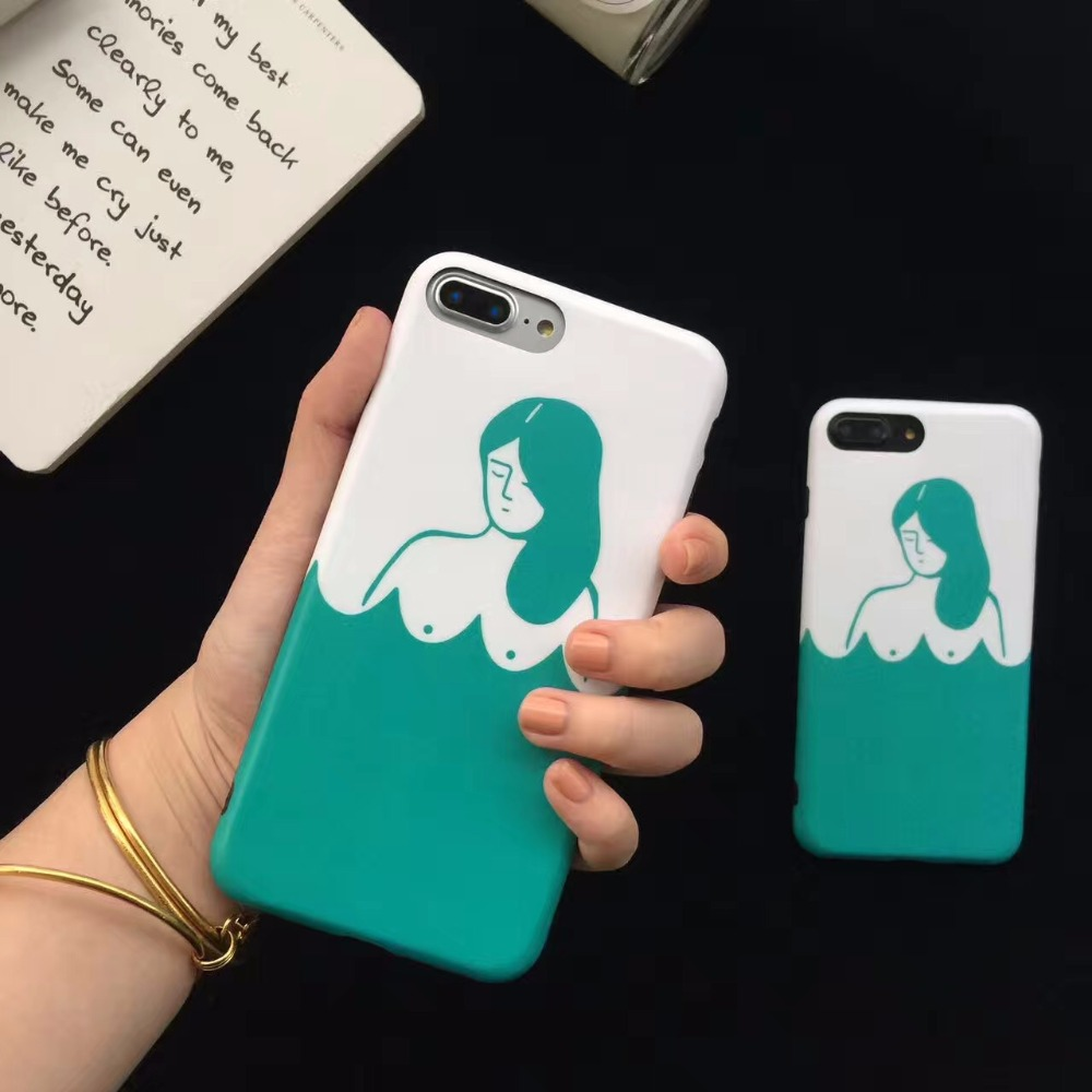 New arrival Creative White Green man Phone Case for iphone7 7plus i7 7p 7 Plus big boobs soft tpu Casing New