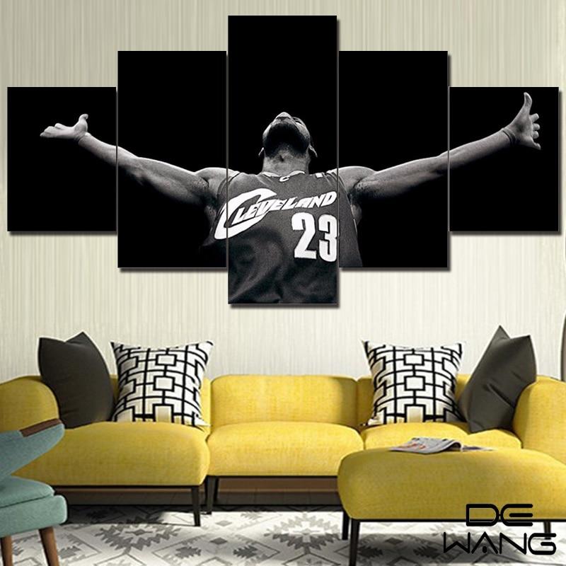 Framed Art 5 Panel Print Canvas Nba Art Picture Wall Art Home ...