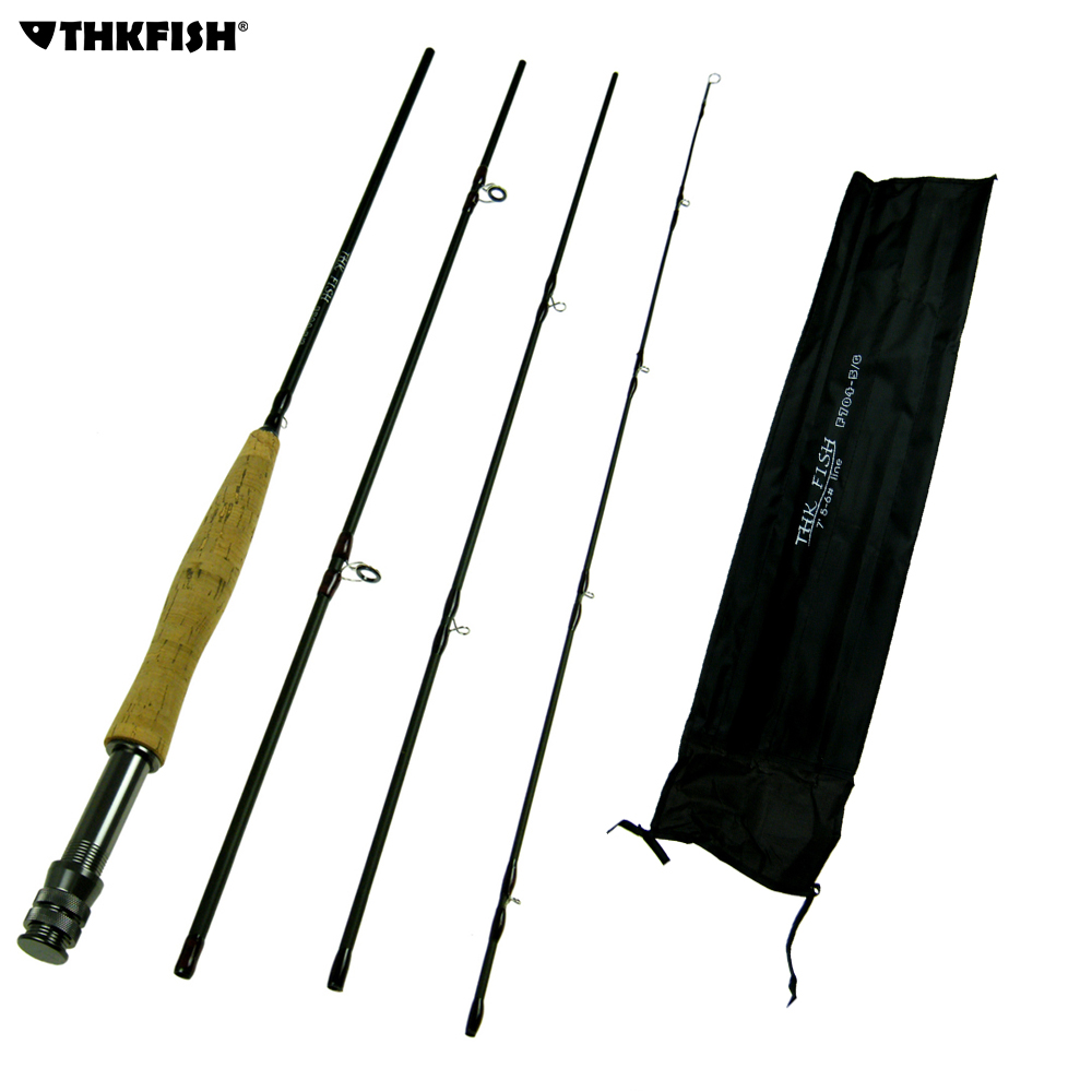 THKFISH Fly Fishing Rod 9ft 2.7M 4 Section #5~#6 Graphite Fly Fishing Rod 4-Piece Lightweight Portable Carbon Fiber Fishing Pole car trunk curtain cover special for kia sportage 2016 2017 2018 ql 4th generation
