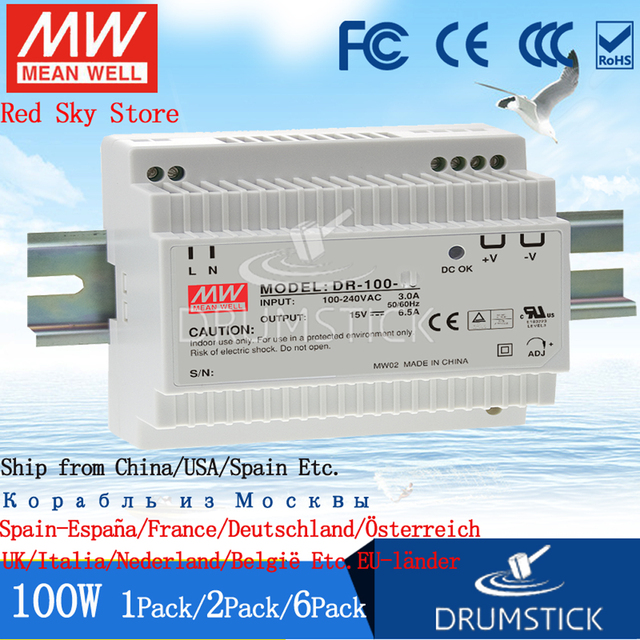 (3.28) Meanwell 100W Industrial DIN Rail Power Supply HDR-100-24V/12/12N/15/15N/24N/48/48N 2.1/1.92/3.83/4.2A 7.5/7.1A DR/MDR