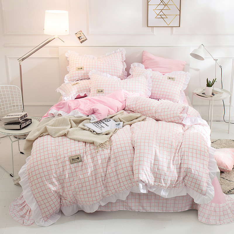 Japanese Brief Pink Grid Ruffles Princess 3/4 Pcs Bedding Set Bed Sheet Duvet Cover Pillow Cases Washed Cotton King Queen Twin