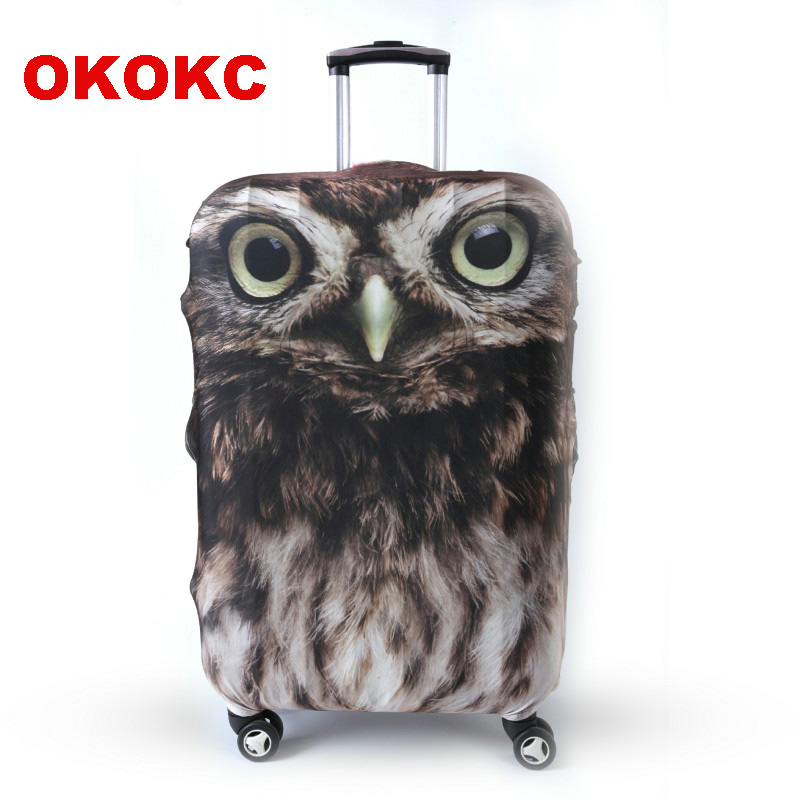 OKOKC Owl Animal Luggage Protective Cover For 19''-32'' Trolley Suitcase, Elastic Travel Suitcase Cover Travel Accessories
