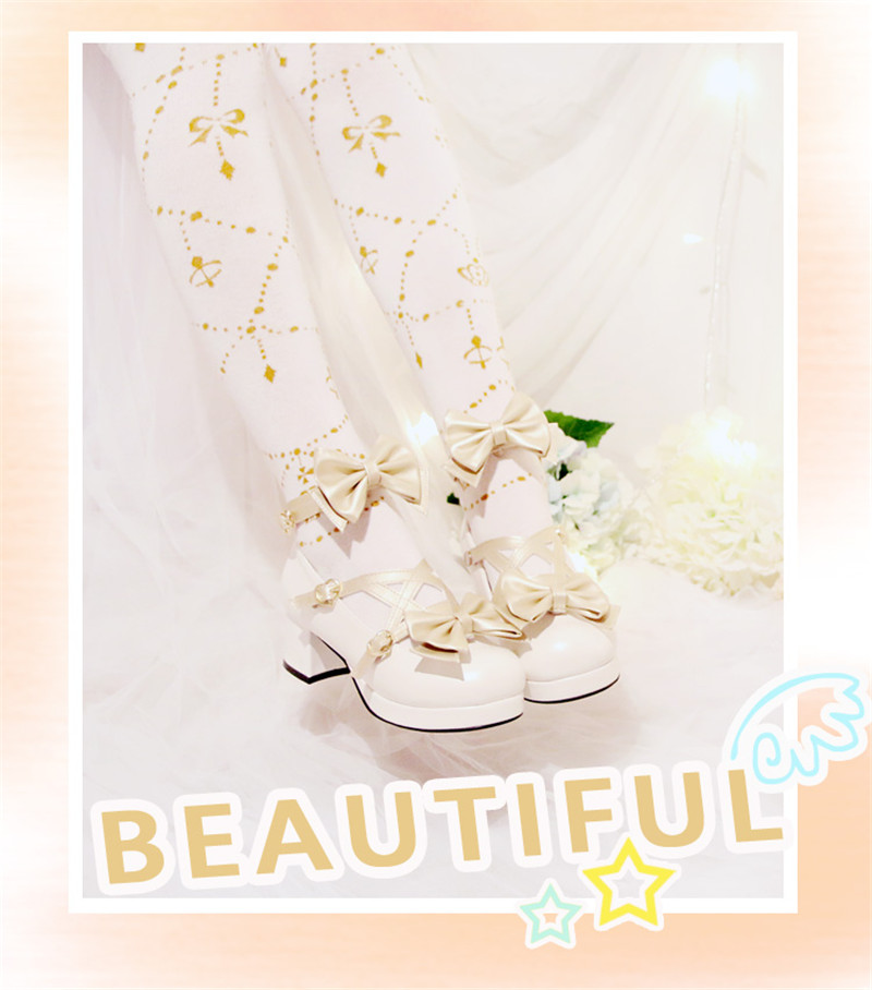 Lolita Shoes Japanese Sweet Shoes Princess White Blue Bow Cute Girl Cos Cosplay High-heeled Shoes сабо sweet shoes sweet shoes sw010awtrl49