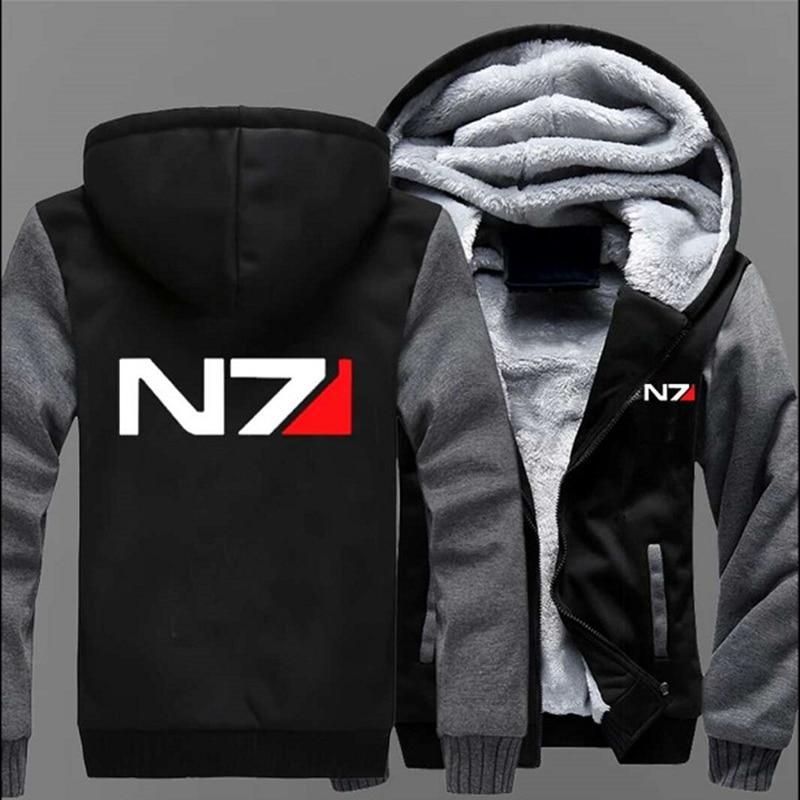Winter Games Sweatshirts Mass Effect 3 Print N7 Cotton Men Fashion Hoodies Hoody Thicken Coats Zippe Harajuku Jackets Streetwear