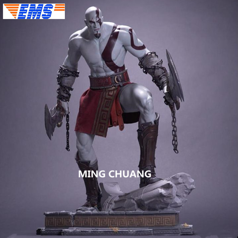 26 God of War Statue Ghost of Sparta Bust Kratos Full-Length Portrait 1:4 GK Action Figure Collectible Model Toy BOX 66 CM Z209 high quality god of war 3 kratos on zeus head resin figure statue fans collection 26cm h