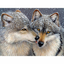 Diamond Painting 5D DIY Full Drill Round Diamond Two Snow Wolf Pattern Embroidery Mosaic Stickers Cross Stitch Decorative цена
