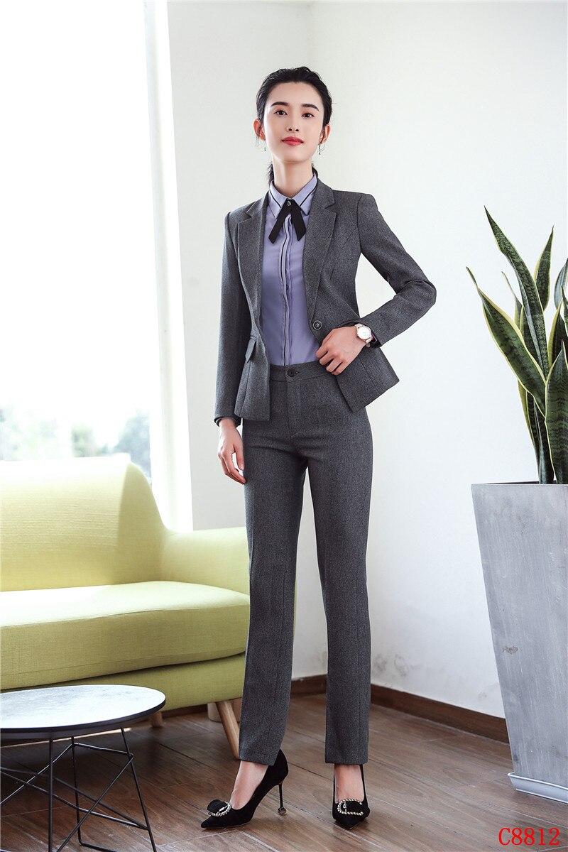 f2a0f8d27ce836 E Set Grigio Donna Uniforme Stili Di Con Vestiti Affari Lavoro Ufficio Per  Usura Disegni Pantaloni Blazer Dei ...