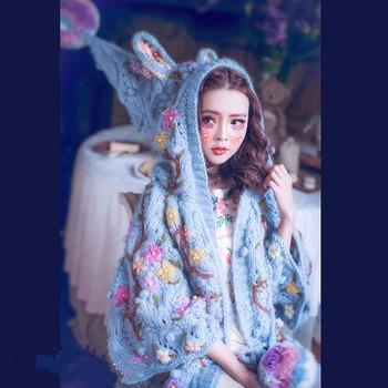 Женский кардиган пончо с вышитыми ручками, свободная шапка и Кролик, весна 2019