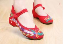 OK 2017 New  Colors Fashion Women's Shoes Old Peking Mary Jane Denim Flats Flower Embroidery Soft Sole Casual Shoes Plus Size 41