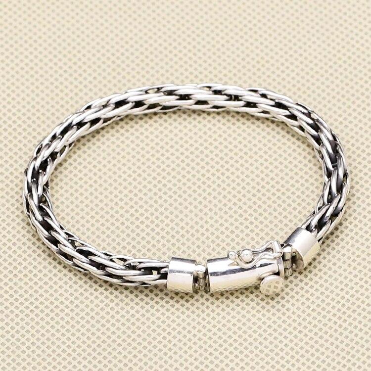 100% твердых стерлингового серебра 925 плетение интерлок звеньев браслет Для мужчин просто краткое Дизайн модные Для мужчин S серебро 925 ювелир...