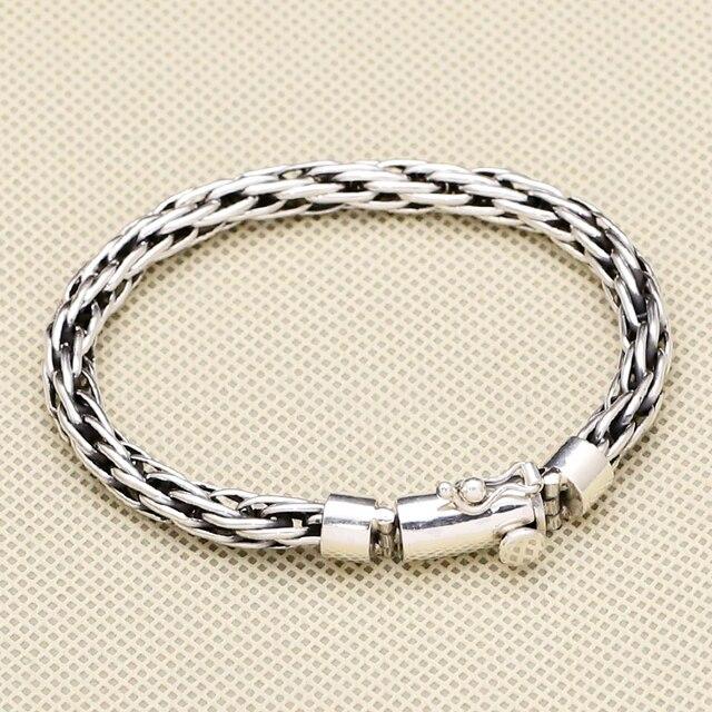 5bb4fcac6cc9 100% sólida plata esterlina 925 interlock weave enlace pulsera hombres  simple breve diseño de moda