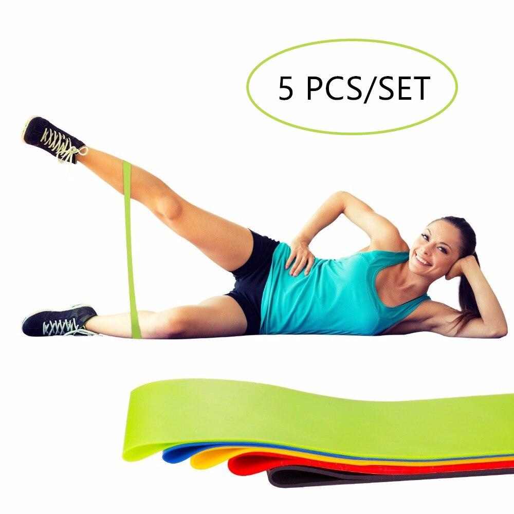 5 Pezzi/set 5 Livelli di Yoga Lattice Naturale di Gomma di Forma Fisica Bande di Elastici a Resistenza Loop Palestra Muscolare Che Modella Attrezzature per L'allenamento