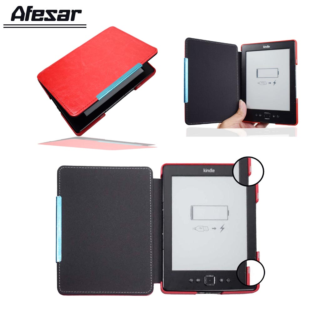 Afesar D01100 Magnet Closured Leather Cover Case For Amazon Kinlde 4 Kindle 5 Ebook Flip Case K4 K5 Pouch Gift Screen Protector