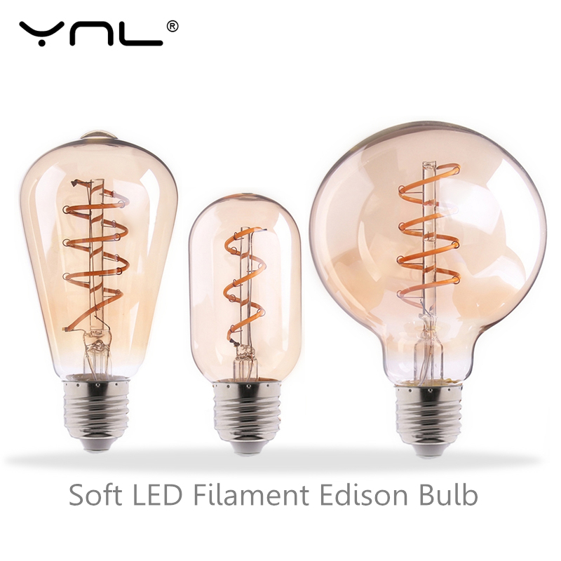 YNL Retro Edison Bulb Soft Spiral LED Filament bulb E27 220V 3W ST64 A60 G80 G95 G125 T45 T185 Retro lamp Light lighting decor