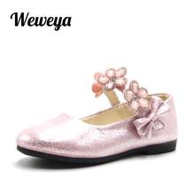 Weweya Brand Children Princess Shoes Pink  Golden  Silver Soft Sole PU  Leather Fashion Rhinestone cd593437a2e6
