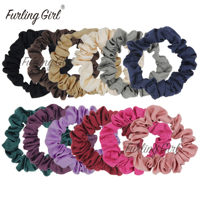 Furling Girl Pack of 12 Satin Scrunchies Fabric Elastic Hair Bands Ponytail  Holder Hair Accessories Black Mix Colors Hair ties d406340b693