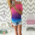 Fashion 2016 Summer Women Sexy Loose Off Shoulder T Shirt Tops blusa Gradient Rainbow Color O Neck tee femme Party Streetwear Z2