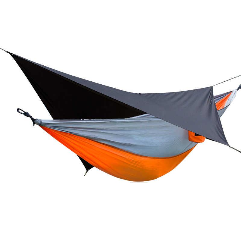 2 em 1 rede de acampamento ao ar livre à prova dwaterproof água chuva tarp jardim acampamento viagem dupla 2 pessoa lazer parachute redes