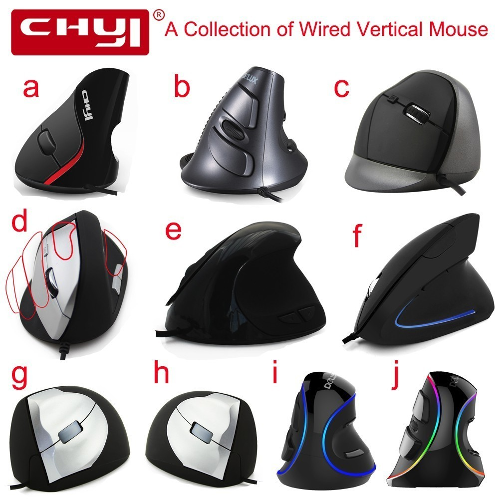 CHYI Wired Mouse Ergonomic Max to 4000 DPI Ajustable A Collection of USB Cable Optical Vertical Mice Wrist Healing For PC Laptop