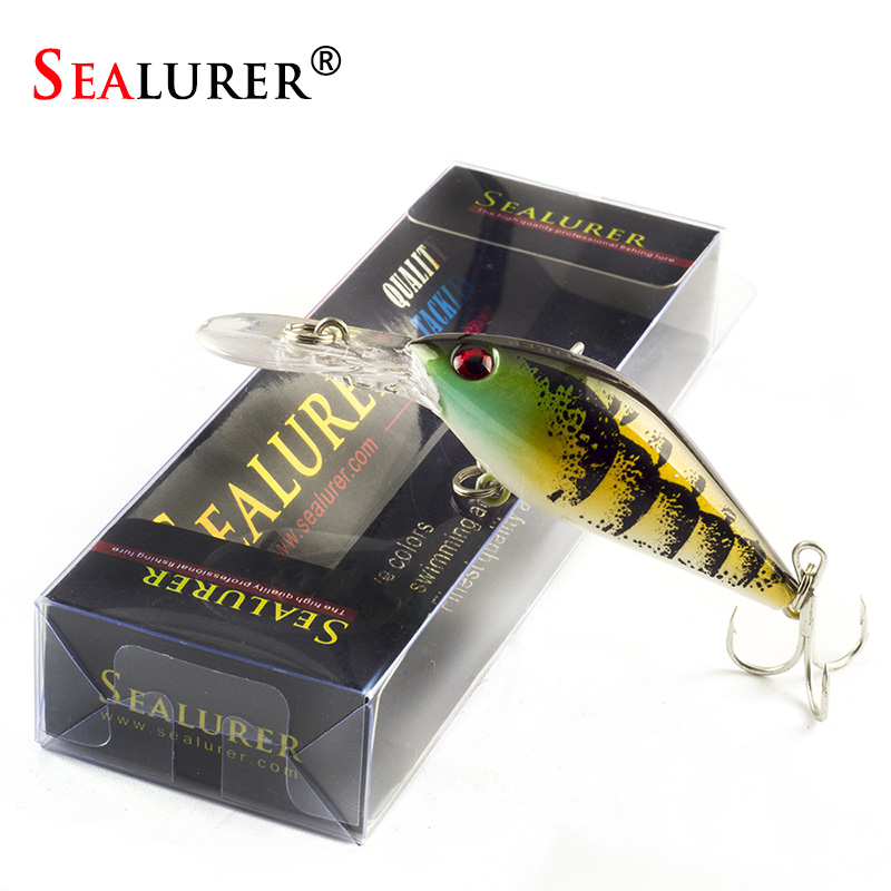 SEALURER Boxed 1Pcs/lot Fishing lures Float Crankbait Minnow  High Quality Tackle  80mm  8.6g  Wobblers  with 6#  Hooks 3D Eyes fishing lures wobblers hard minnow crankbait aritificial laser reflective fishing tackle with feather hooks pesca isca baits