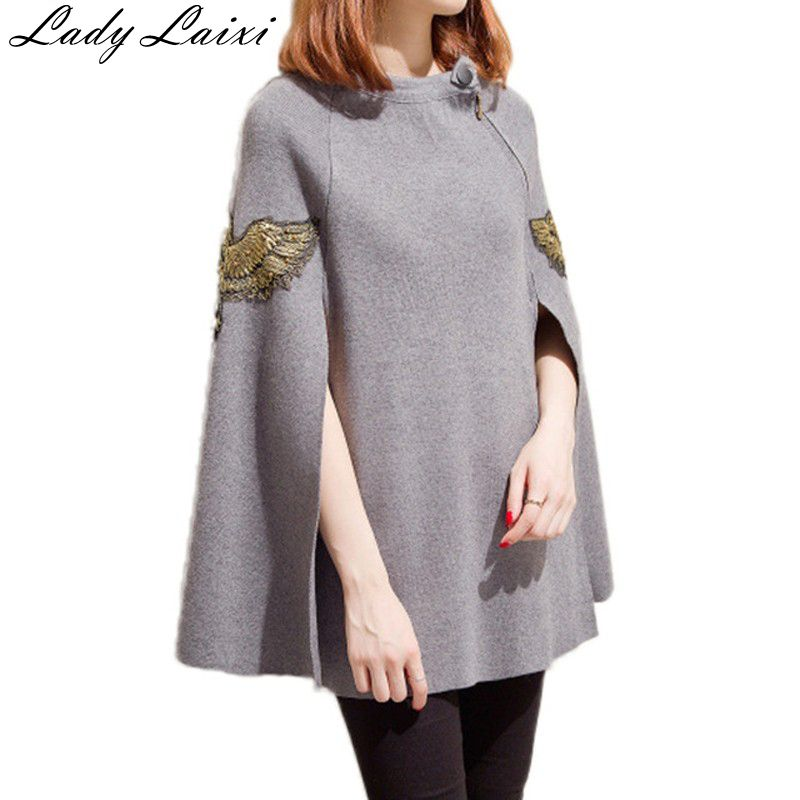 Runway Autumn black gray Embroidered beading pullovers knitted wool sweater women christmas gift grey black
