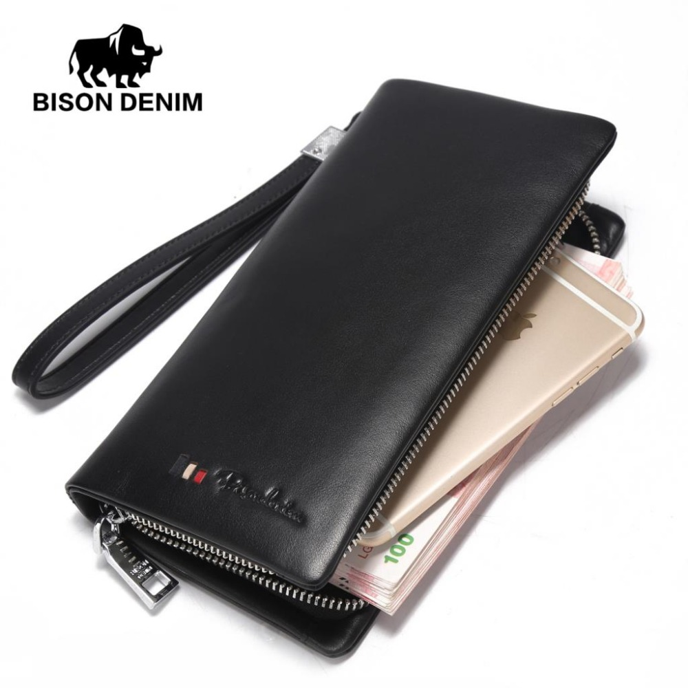 BISON DENIM brand fashion men wallets genuine leather long zipper clutch purse card holder phone wallet bison denim brand genuine leather wallet men clutch bag leather wallet card holder coin purse zipper male long wallets n8195