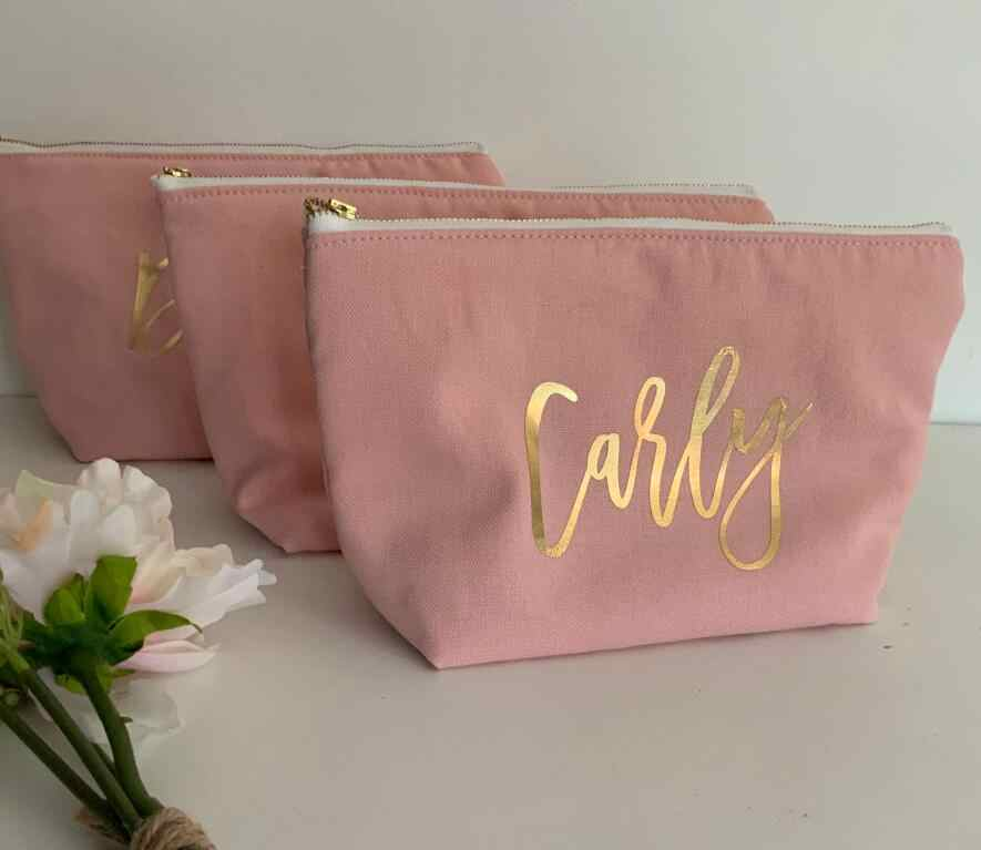 Art Holographic Iridescent Bridesmaid gift Pouch Accessory Bridal Pink Marble Crystal Gold Pencil Case Make Up