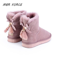 MBR FOORC sheepskin leather wool fur lined women short ankle winter suede snow boots with bowknots mink fur tassels winter shoes(China)