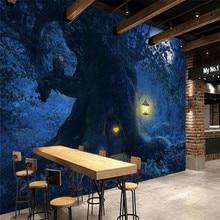 Fantasy beautiful forest moonlight tree landscape background wall professional custom mural photo wallpaper