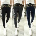 2015 Nuevos Hombres de La Manera Pantalones Harem Camuflaje Costura Joggers Casual, hombres Joggers M-xxl