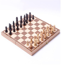 Chess-Set Game Wooden International Funny Folding Portable
