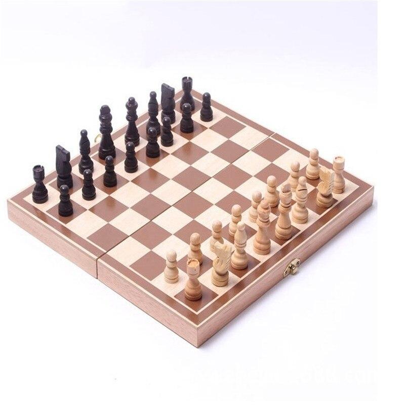 Juego de ajedrez internacional de madera plegable Juego de piezas Juego de mesa divertido juego de ajedrez colección portátil juego de mesa