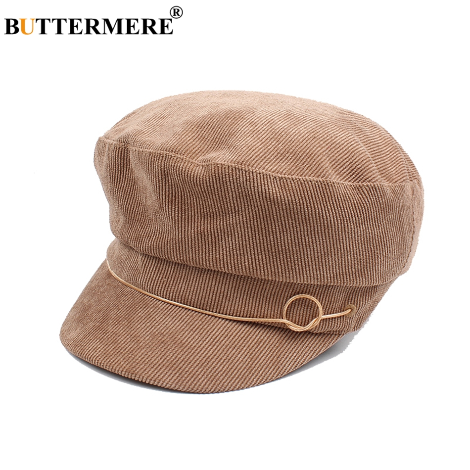 BUTTERMERE Army Hats Navy Blue Womens Military Caps Newsboy Corduroy  Vintage Female Flat Cap Designer Baker Boy Hat-in Military Hats from Men s  Clothing ... 02635a8806