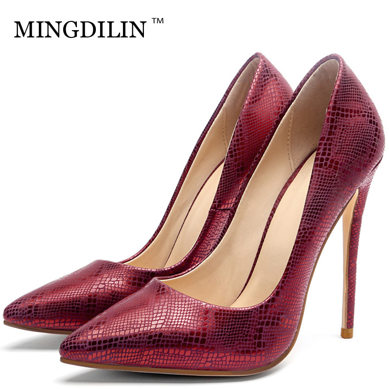 MINGDILIN Silver Women's High Heels Shoes Wedding Party Woman Shoes Green Red Plus Size 33 43 Pointed Toe Sexy Pumps Stiletto цена