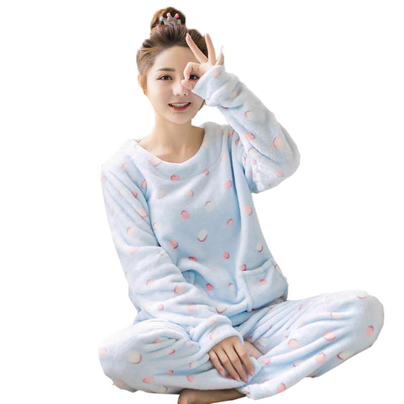 Adults Autumn and Winter Women Pyjamas   Sets   Thick Warm   pajamas   Suit Flannel Long Sleeve Female Cartoon Animal Pants Sleepwear
