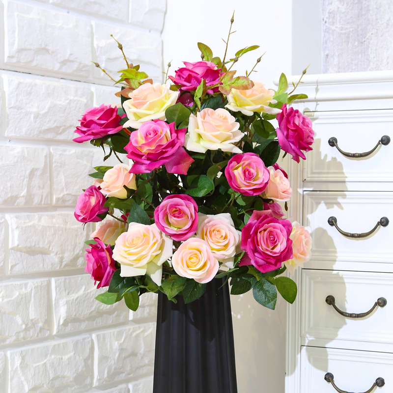 3 Heads Artificial Real Touch Rose Flower Decoration Fresh Rose