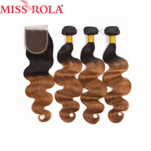 Miss Rola Hair Pre colord Mongolian Body Wave Hair Weaving 3 Bundles With Closure T1B 30