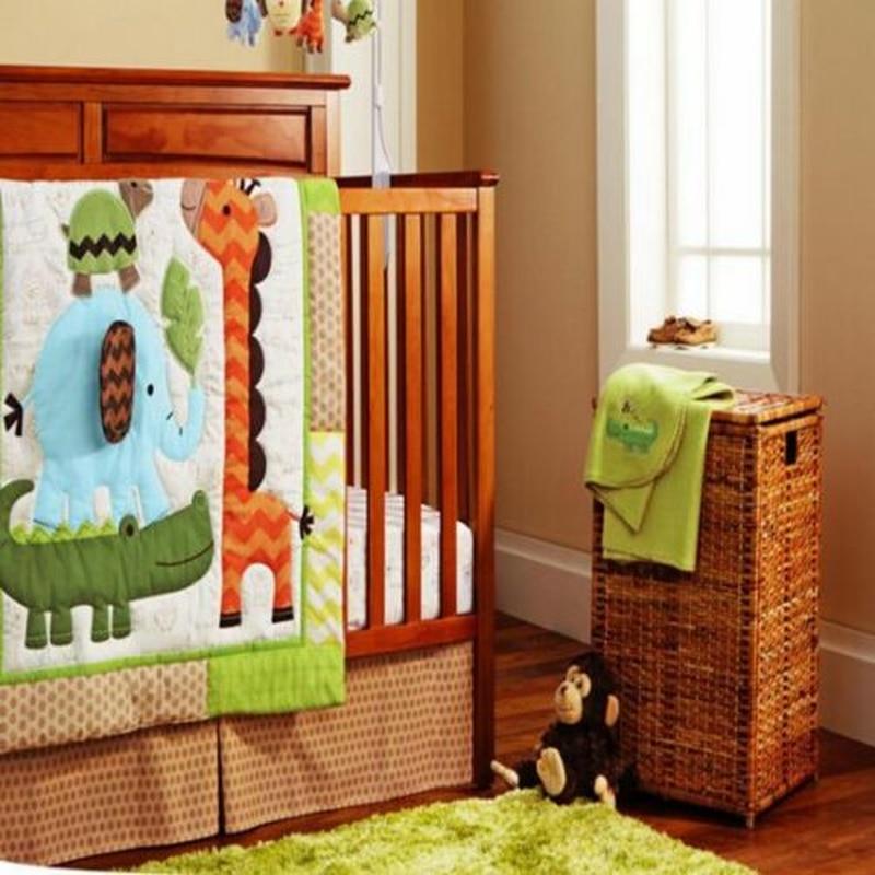 4PCS 3D Africa Forest Lion Baby Boys Crib Nursery Bedding Set Quilt Bumper Sheet