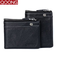 QOONG HOT 100 Genuine Cowhide Leather Men Wallet Short Coin Purse Small Vintage Wallet Credit Card