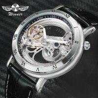 Часы WINNER  мужские  механические  с ремешком из натуральной кожи