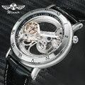 Top Brand WINNAAR Horloge Mannen Auto Mechanische Golden Bridge Horloges voor Man Luxe Lederen Band Jurk Mannelijke Klok