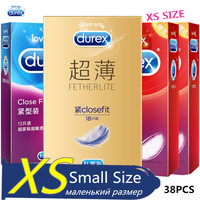 Durex Condoms XS Small Size 49mm 38 Pcs 4 Box Ultra thin Smooth Lube Condom Penis Sleeve Adult Erotic Products Sex Toys for Men