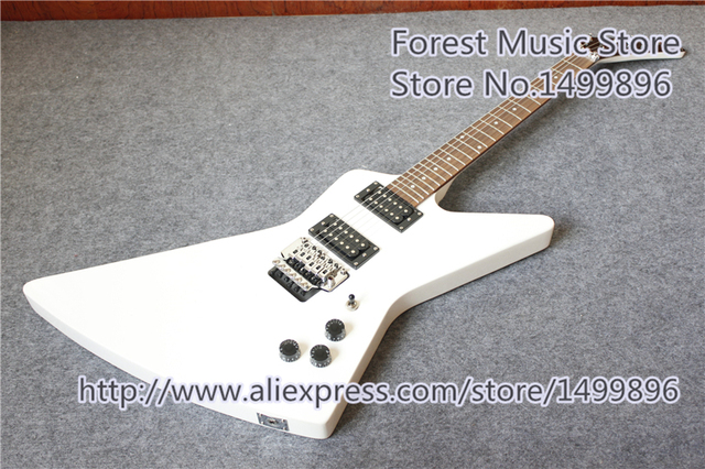 Cheap New Arrival China Glossy White Finish Explorer Explorer Electric Guitars With Chrome Floyd Rose Tremolo