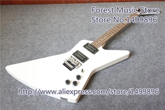הגעה חדשה סין מבריק לבן גימור Explorer Explorer חשמלי גיטרות עם כרום חומרה למכירה