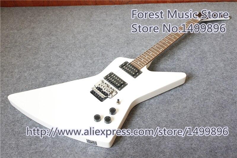 Nouvelle arrivée chine brillant blanc finition explorer explorer électrique guitars avec chrome floyd rose tremolo