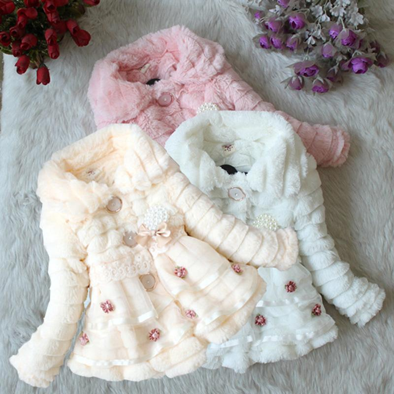 Baby Kids Girls Faux Fur Fleece Party Coat Winter Warm Jacket Xmas Snowsuit 3 Colors