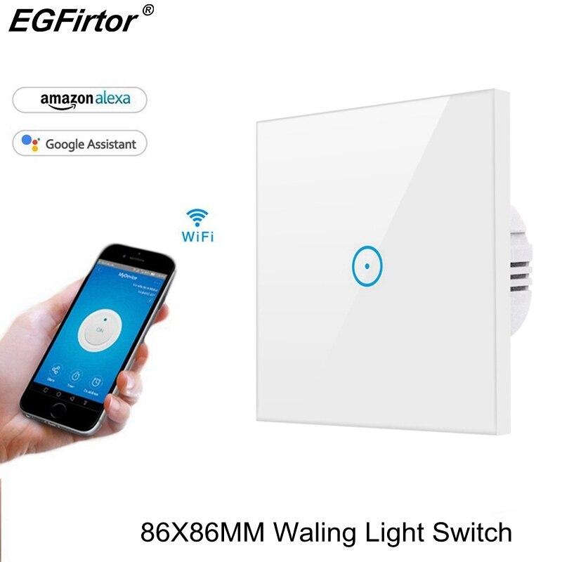 Smart Light Commutateur 86 MM Wifi Maison Intelligente 10A Murs Lumière Commutateur Norme EUROPÉENNE Facile Travaux D'installation avec Alexa Google la maison