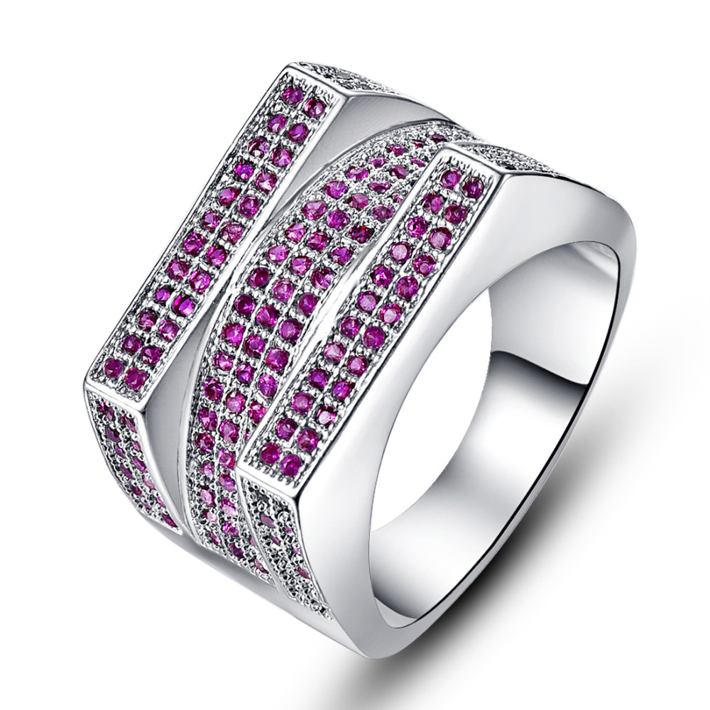 Wholesale White Gold Plated Luxury Fashion Wedding Ring Set Pink Tourmaline  Red Jewelry For Women Chirstmas